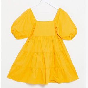 Yellow Puff Sleeve Smock Dress